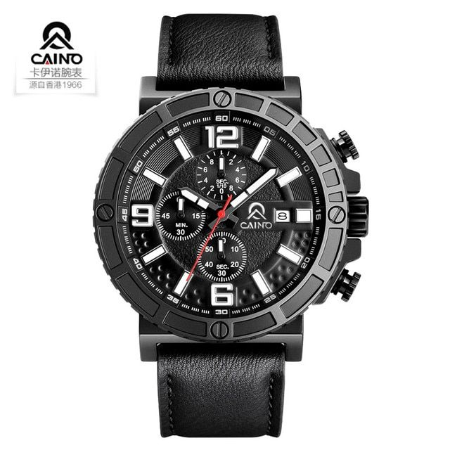 CAINO Big Dial Quartz Watch Men Top Brand Sports Watches Waterproof Fashion Luxury Military Wristwatches Clock Relogio Masculino