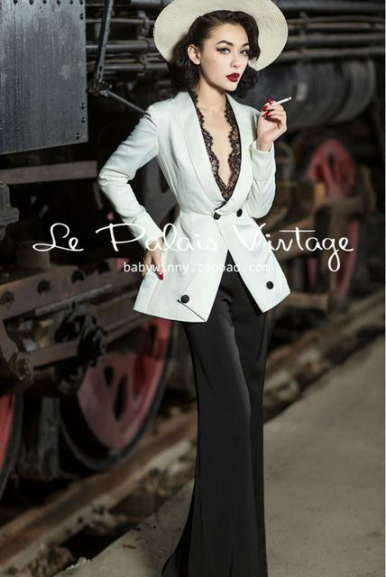 FREE SHIPPING Le Palais Vintage elegant classic slim waist skirt lace suit jacket smoking suit