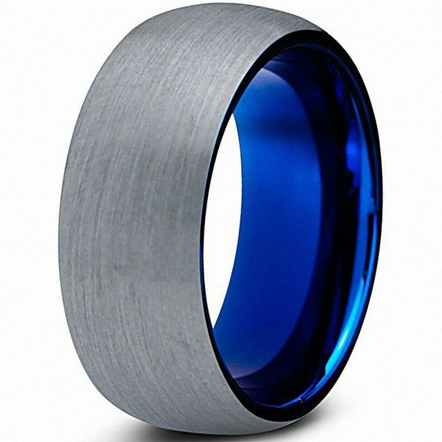 Blue Tungsten Wedding Bands Silver Color Brushed Finish with Inner Blue IP Plated Engagement Rings Antique Mens Women Jewelry