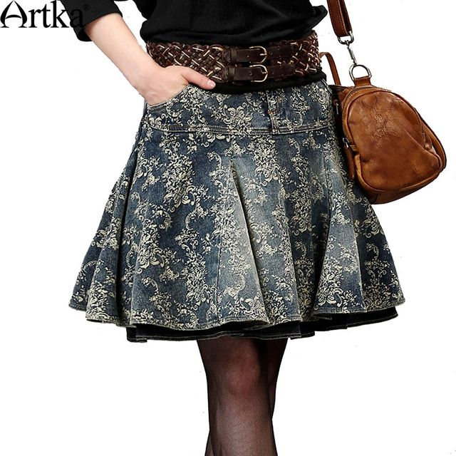 Artka Women's Autumn New Floral Printed All-match Denim Skirt Vintage Comfy Mini Pleated Skirt QN15355Q