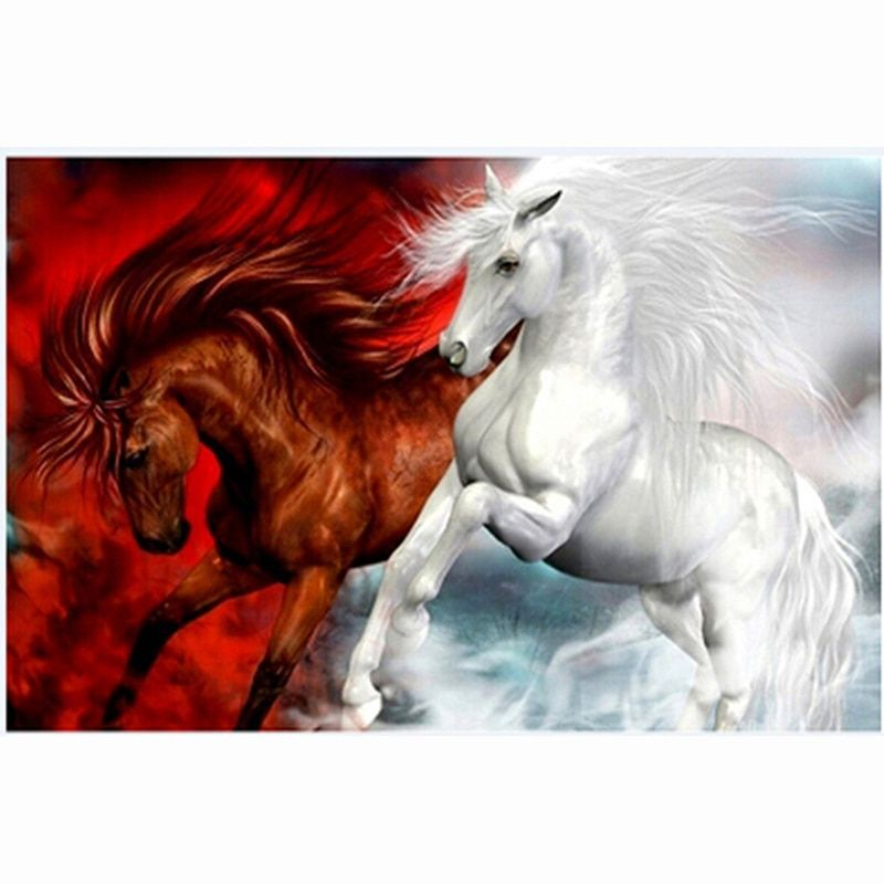 red white horses 5d Diy Diamond Painting Cross Stitch Diamond Embroidery Home Decoration Needlework Diamond Mosaic Wall Sticker