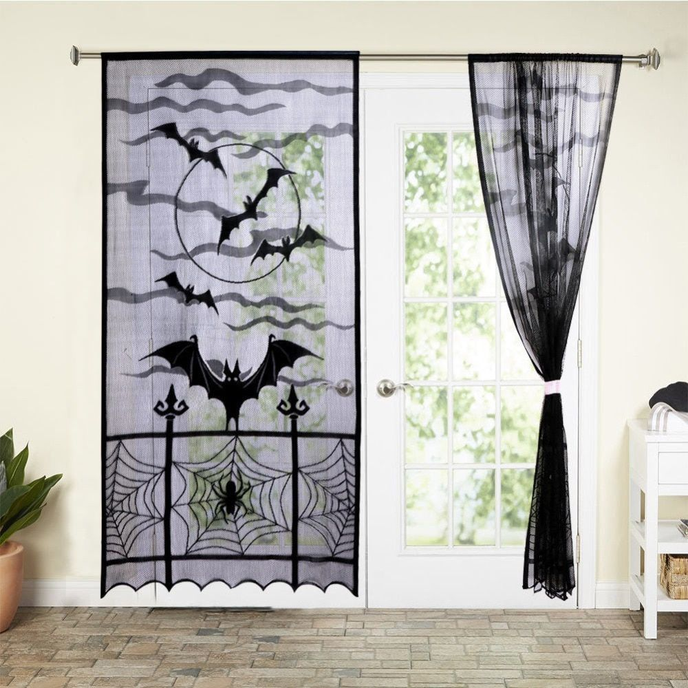 Black Lace Halloween Curtain Tulle Sheer Bat Spide Curtains for Living Room Halloween Decorations for Window Fabric Blinds Drape