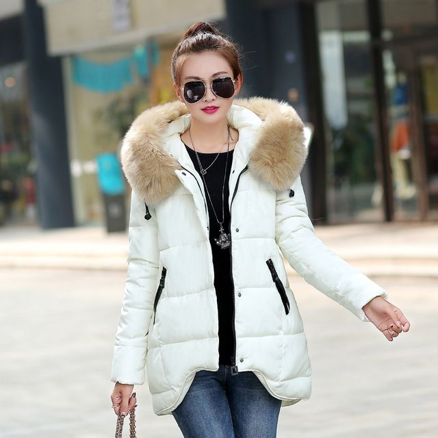 Brieuces 2017 winter jacket women thickening cotton-padded jacket outerwear large fur collar medium-long winter coat women parka
