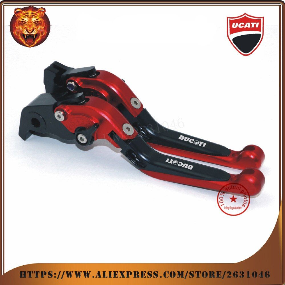 For New design DUCATI HYPERMOTARD 821 SP 2013 2014 2015 2016 Red  Motorcycle Adjustable Folding Extendable Brake Clutch Leve