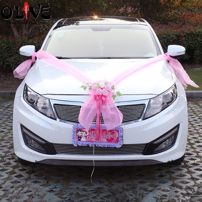 Artificial Flowers Garland Wedding Decoration Car Flowers Foam Roses Decorative Tulle Wreath Flowers DIY Wedding Party Supplies