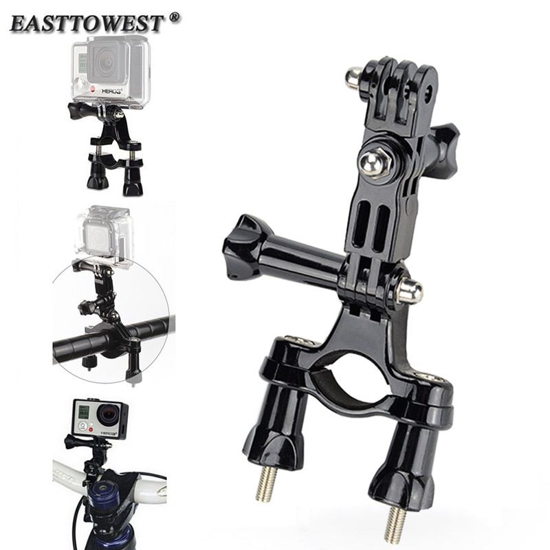 Go pro Mount Bike Motorcycle Handlebar Roll Bar Holder 3 Way Pivot Arm For GoPro Hero 7 5 4 3 for Xiaomi Yi SJ4000 Action Camera