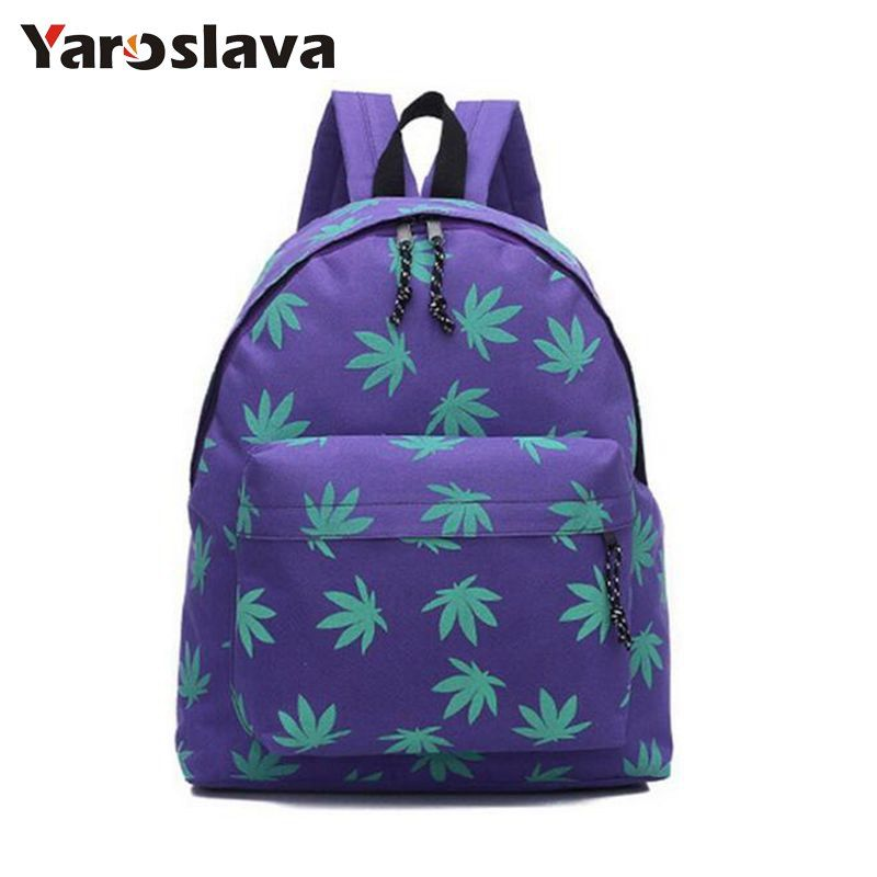 Free Shipping Fashion New Maple leaf School Backpack for Girls canvas Backpack Casual Backpack Women Bags Travel Bag MI6386