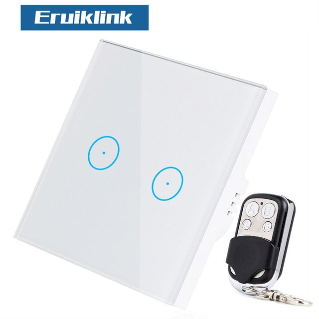 Eruiklink EU Standard Wireless Remote Control Light Switches, 2 Gang 1 Way RF433 Remote Control Wall Touch Switch For Smart Home