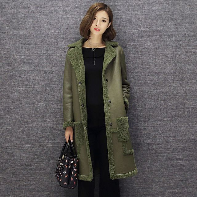 New Arrive Winter  Lady Leather Coat Female Medium Long Design Sheepskin Leather Fur Coat Fur Coats