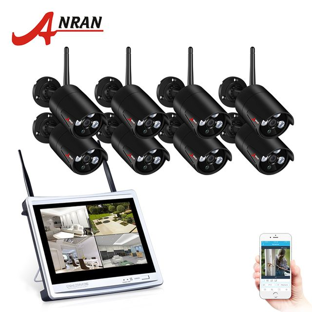 "ANRAN 8CH Wireless Surveillance System 12""LCD Screen Wifi NVR K  960P HD H.264 Outdoor Night Vision Security Camera System"