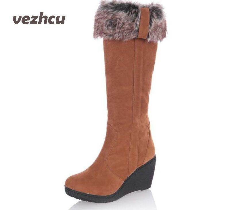 VZEHCU New Women boots winter heels knee high boots warm cotton padded shoes women high wedges suede leather snow boots ba45