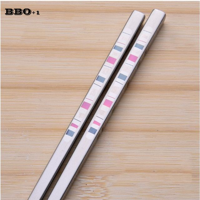 Hot 1pair Stainless Steel Square chopstick set Korean Chopsticks Durable Metal Chop Stick Food Kitchen Tableware Kids Child gift
