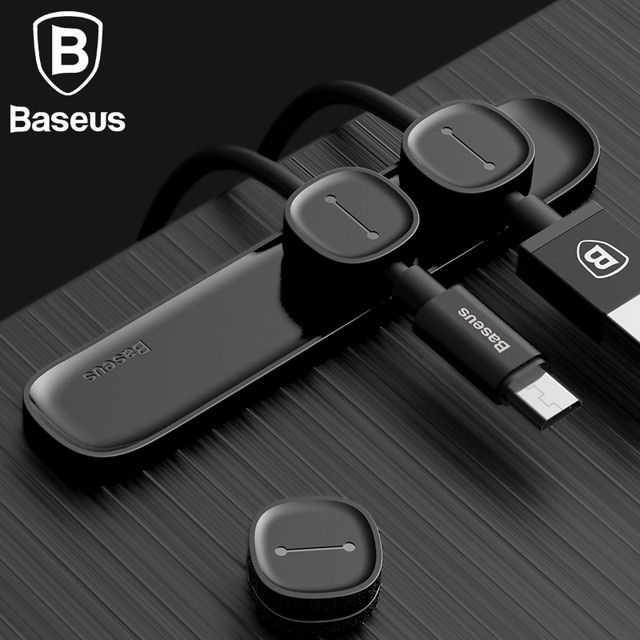 Baseus Universal Magnetic TUP Cable Clip Desktop Tidy Organiser USB Charger Line Holder Home Car Charging Cable Winder Bracket