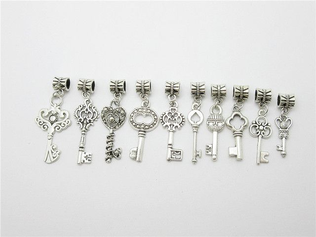 Mix 30pcs Tibetan silver vintage key beads fit for pandora style bracelet DIY pendants
