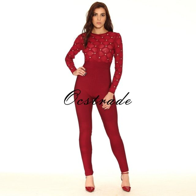 Free Shipping Women Jumpsuits 2016 Hot Sexy Mesh and Studded Black Long Sleeve Bandage Jumpsuit HL Wholesale