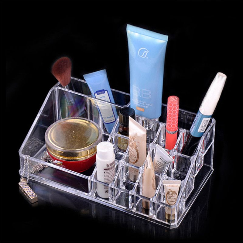 Transparent Crystal Cosmetics  Lipstick Shelf Storage Box Makeup Case Organizer Storage Box Factory Direct Free Shipping S416