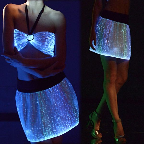 dropshipping Fashion adult women sexy halloween costume led clothing luminous fiber optical sexy skirt