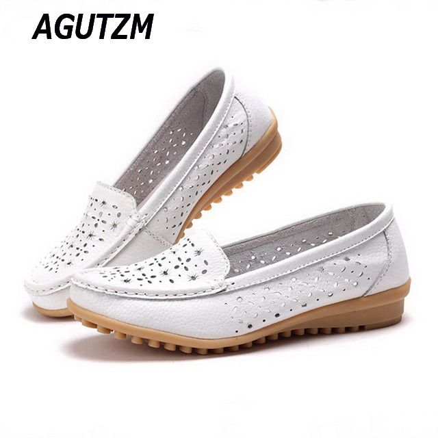 AGUTZM 2018 Women Loafers Lady Ballerina Flat Shoes Woman Summer Flats Hollow Out Comfortable Soft Genuine Leather Moccasins