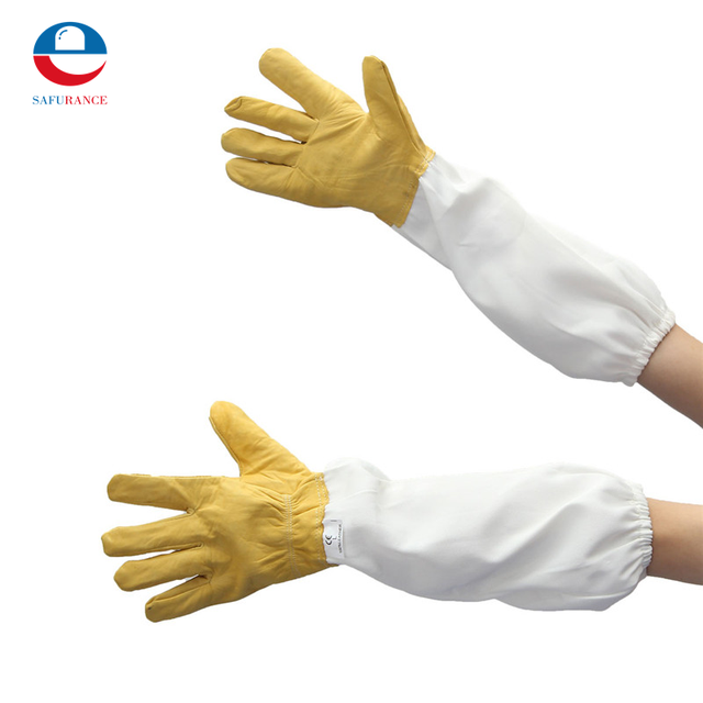 Protective Beekeeping Gloves Goatskin Bee Keeping with Vented Long Sleeves Yellow+White L Sheepskin Ventilation Fabric