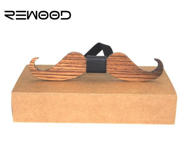 Rewood Original Design American New Fun Personality Men Leisure Wedding Party Beard Shape Wooden Bow Ties Bowtie Butterflies