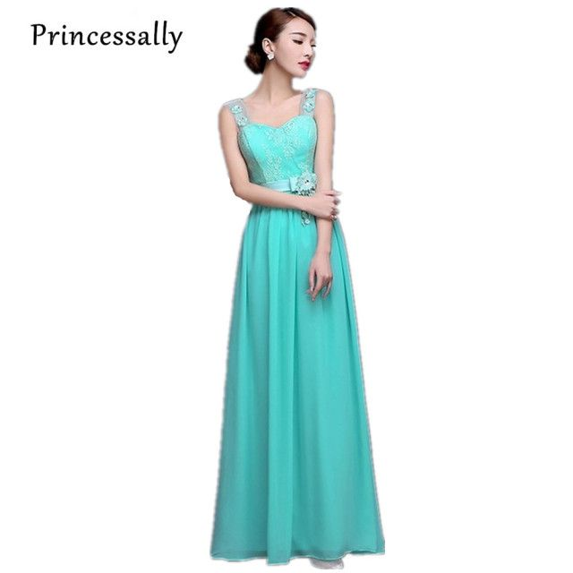 Vestido De Festa Turquoise Bridesmaid Dress Chiffon Two Trap Turquoise Blue Bridesmaid Dresses Prom Gown Vestidos De Novia Cheap