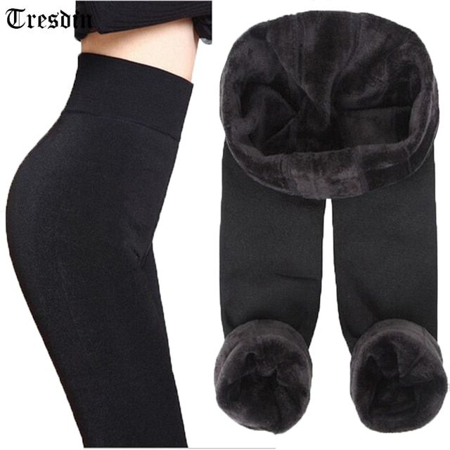 Tresdin Autumn Winter Fashion Explosion Model Plus Thick Velvet Warm Seamlessly Integrated Inverted Cashmere Leggings Warm Pants