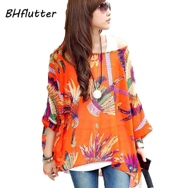 Women Blouses 2017 Novelty Fashion Chiffon Shirts Plus Size 4XL 5XL 6XL Women Tops Floral Print Summer Blouses and Shirts Blusas