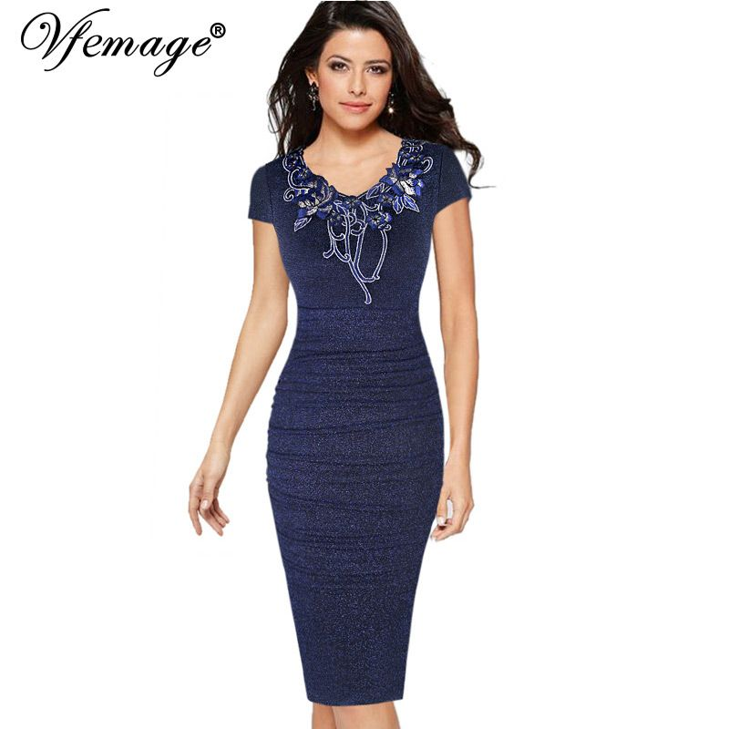 Vfemage Womens Ruched Elegant Vintage Embroidery Floral Party Mother of Bride Special Occasion Pencil Sheath Bodycon Dress 4576