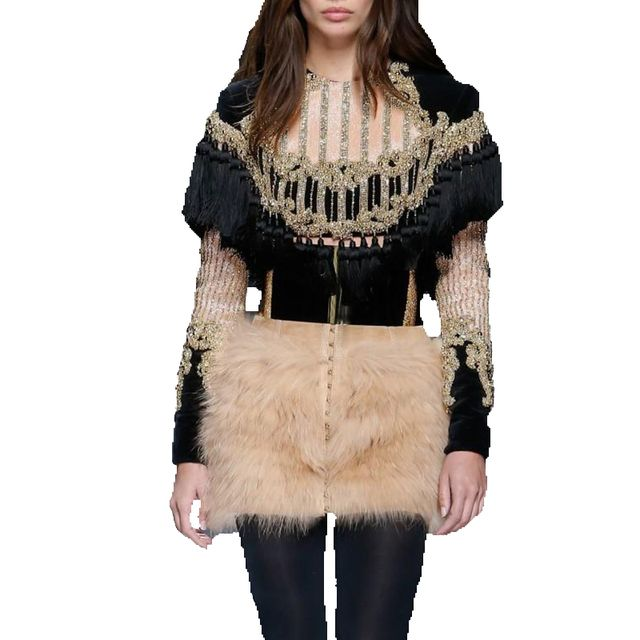 HIGH QUALITY Newest Fashion 2017 Designer Top Women's Long Sleeve Luxury Handwork Beading Tassel Crop Top Tee Shirt
