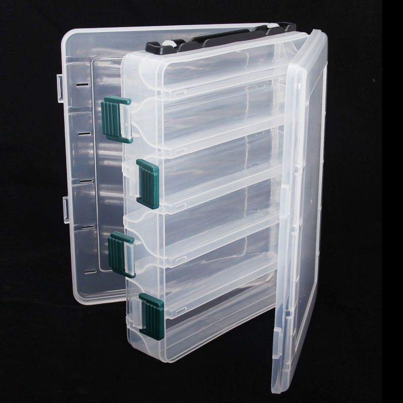Plastic Fishing Lure Box Double Sided 10 Compartments 20x16x5cm Waterproof  Tackle Boxes Peche
