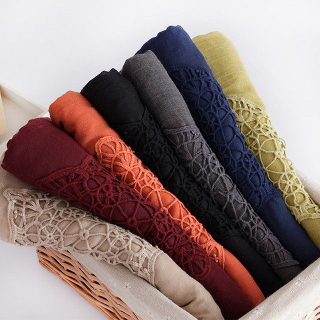 Women plain hijab embroider flower scarf hollow texture solid cosy muslim head wrap lady Shemagh winter pashmimna luxury foulard