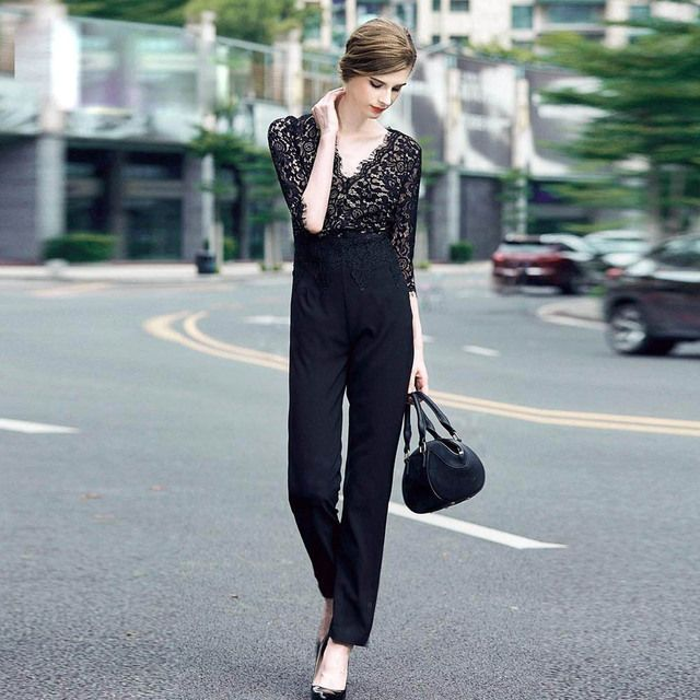 High-end women black lace jumpsuits summer new arrival American and European fashion runway luxury elegant lady Rompers S-XL