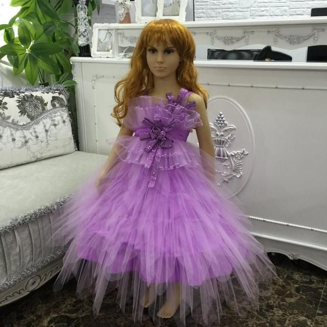 2016 New Beautiful Lilac Flower Girl Dresses For 8 Years Kids Evening Gowns Girls Pageant Dresses With Flowers Sequined 1589B1
