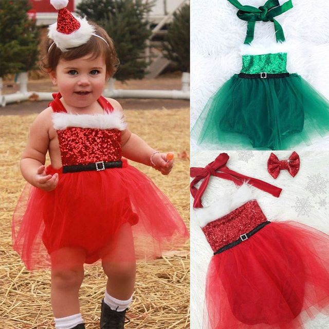 Cute Toddler Infant Baby Girls Clothes Bodysuits Jumpsuit XMAS Clothing Ruffles Cute Baby Girl Outfits Costume