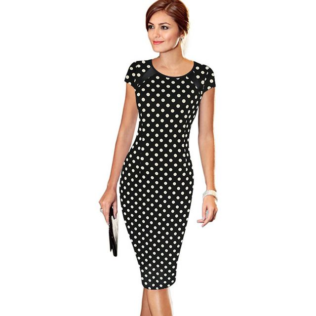 Oxiuly Women's 2017 Summer Printed Synthetic Leather Wear to Work Office Business Sheath Casual Pencil Dress vestidos