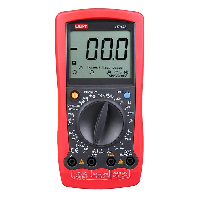 UT106 Digital Automotive Multimeter Handheld Automotive Multi-Purpose Meters Ammeter Ohm Volt Hz Digital Universal Meter UNI-T