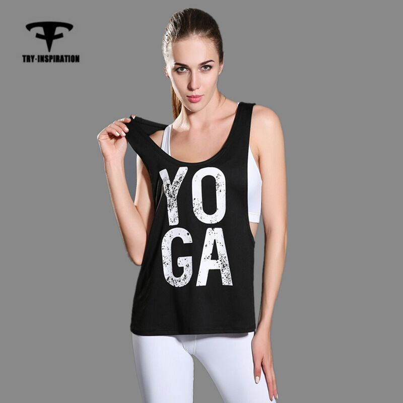 Free shipping Women Yoga Tank Tops Words Active Sports Running Fitness Sleeveless Shirts