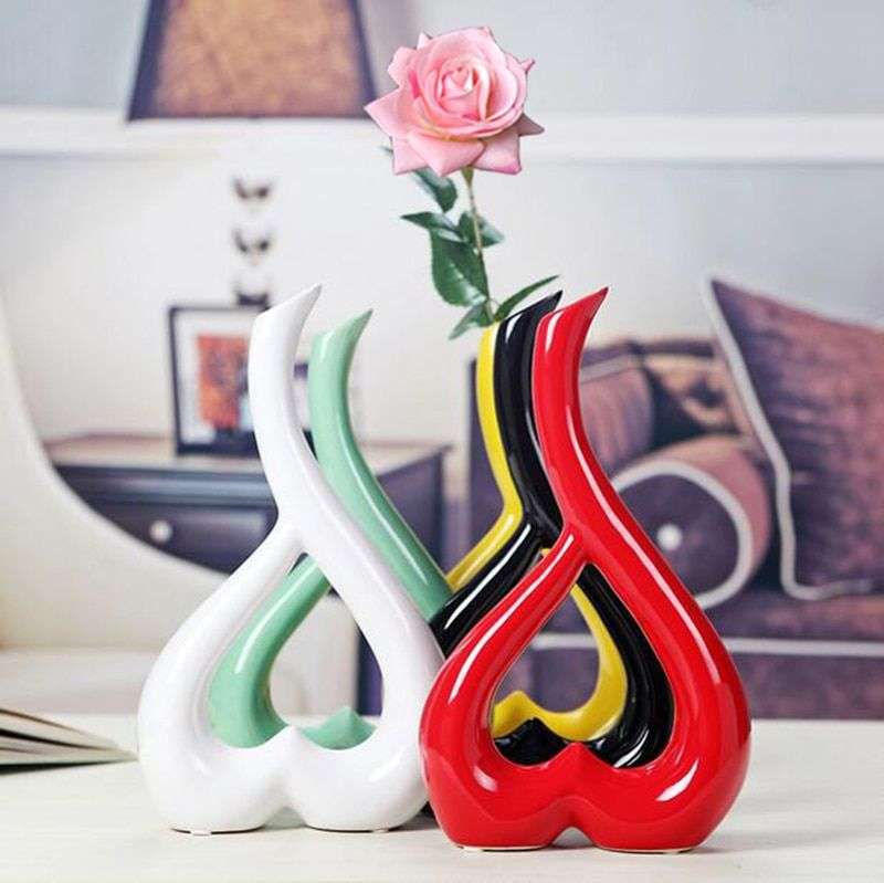 1 Piece Creative Handcrafts Home Decoration Art Work Flower Holder Ceramic Vase or 1 Vase Plus 1 Real Touch Rose Set