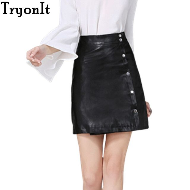 New 2017 Winter Fashion Women Mini PU Leather Skirt Buttons Pencil Skirt High Waist Ladies Sexy Casual Lolita Skater Skirt YQ635