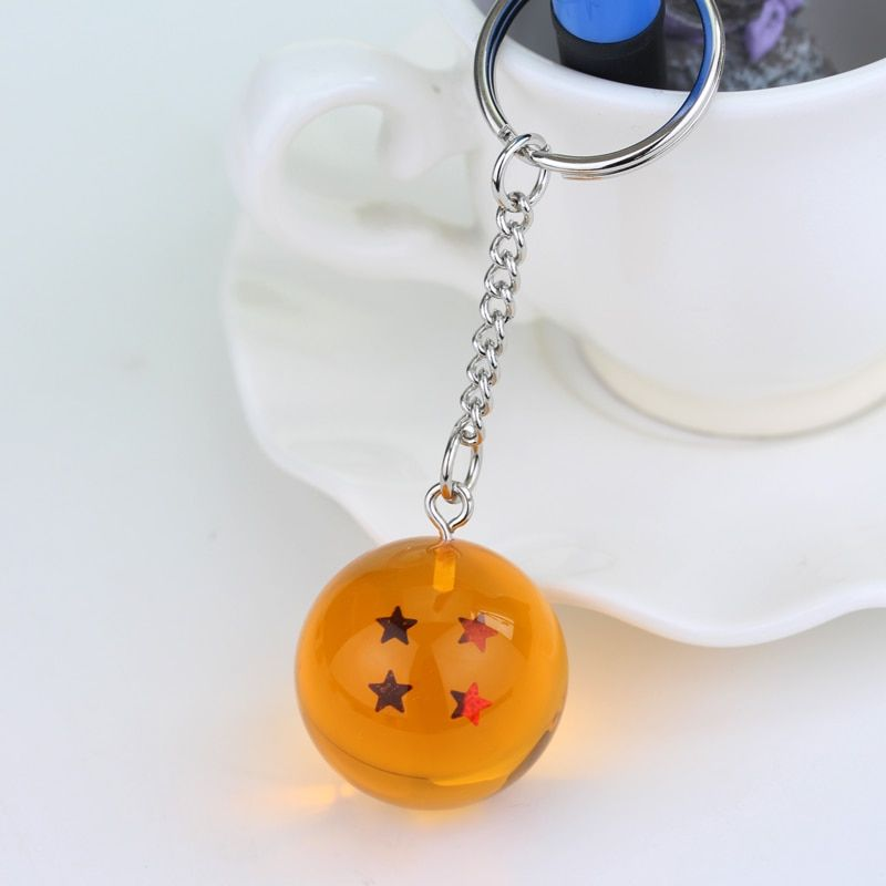 Goku Dragon Ball Pendant Keychain Spherical Sheer Resin Ball Pendant Keychain Metal Key Rings Anime Fan Best Gift Anime Jewelry