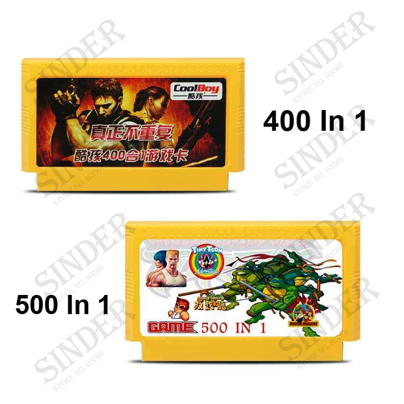 2Pcs / Lot (400 in 1 Game Cartridge No Repeat + 500 in 1 Game Card) 8 Bit 60 Pin Game Card