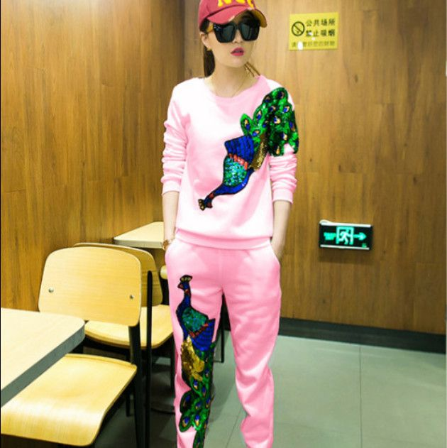 2016 spring new European fashion casual Women's Sets suit female sequined trousers+Two-piece sweater