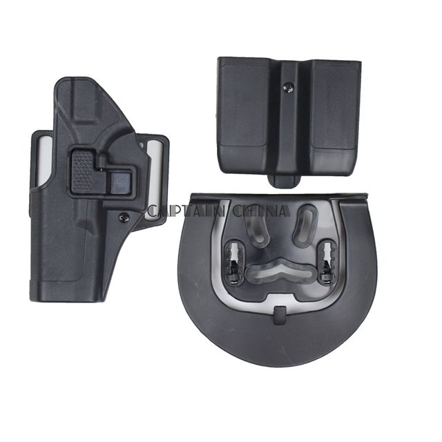 Black Military Army Airsoft Left Hand Gun Holster W/ Magazine Pouch Tactical Belt Paddle Holster for Glock 17 18 19 22 23 31