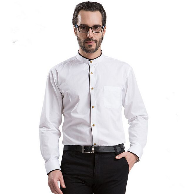 Man Shirt Mandarin Collar Casual Business Fashion New 2015 Long Shirts Men Dress Solid Shirt Size Plus XXXXL 3XL 4XL SMC506