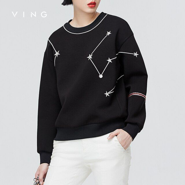 VING 2017 Autumn New Star Embroidery O-Neck Female Striped Sweatershirts Long Sleeve Pullover