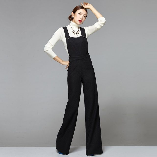 Fashion Winter Warm Overalls Jumpsuit Womens Elegant Wool Rompers Chic Elegant Office Lady Black Wide Leg Pants Woolen Rompers