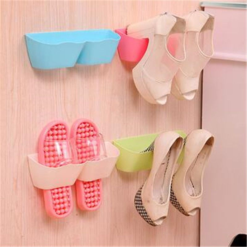 Fashion three-dimensional wall hung shoe shelf rack storage Candy color paste home furniture cabinet DIY bathroom
