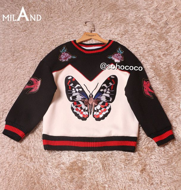 beading white black patchwork long sleeves sweatshirt butterfly embroidery high quality sweatshirts autumn tops 826