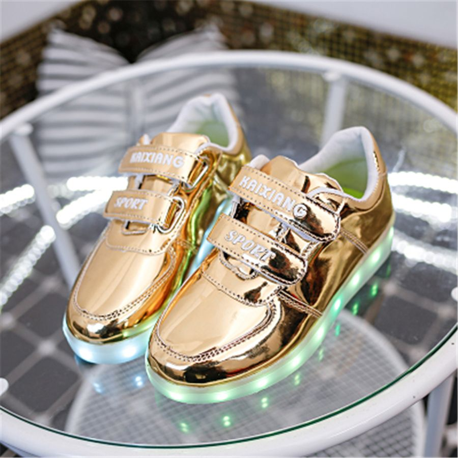 Kids Led Star Shoes Luminous Girl Glowing Sneakers Usb Flashing Zapatos New Fashion Kids Shoes Children Pu Leather 50Z0018
