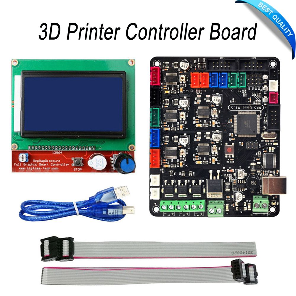 3D Printer Controller Board MKS Base V1.5 With Mega 2560 R3 Motherboard RepRap Ramps1.4 + 12864 LCD Controller